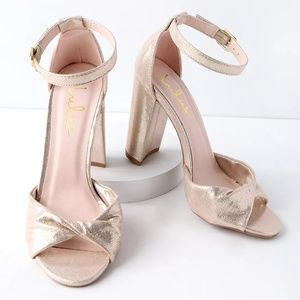 Lulus Gold Metallic Wrap High Heel Sandal 8.5